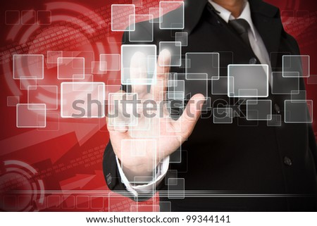 business hand pushing the virtual button as concept