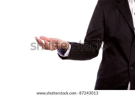 Business hand raise for receive something on white background - stock photo