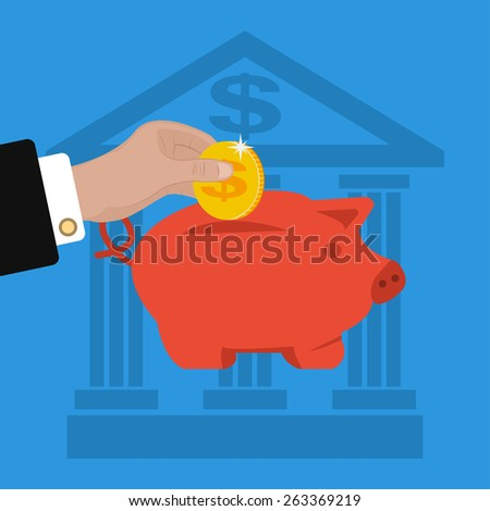 business hand saving money in piggy bank. Graphic Design for Business Growth and Start up concept - stock photo