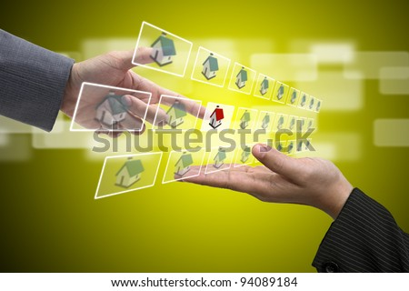 Business Hand select New Real Estate from Sale Representative using for New Property Investment Concept - stock photo