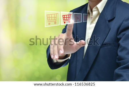 business hand selecting business icon on green abstract background.