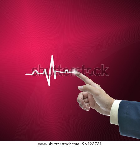 Business hand selecting business object on gradient background.