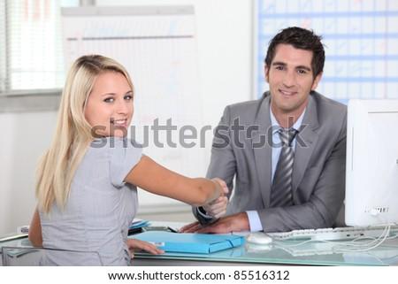 business hand shake - stock photo