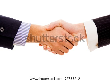 Business hand shake on white background - stock photo