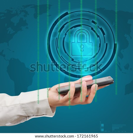 Business hand show a smartphone security concept. - stock photo