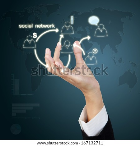 Business hand show concept social network concept on virtual screen - stock photo