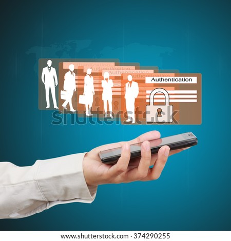 Business hand showing concept of business online security on virtual screen. - stock photo