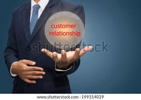 Business Hand Showing customer relationship  - stock photo