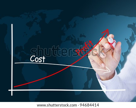 business hand showing success graph - stock photo