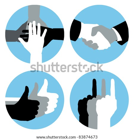 Business hand symbols in blue circles.
