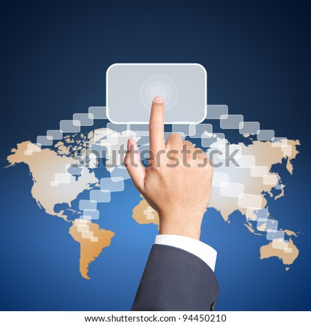 Business hand touch busibess icon - stock photo