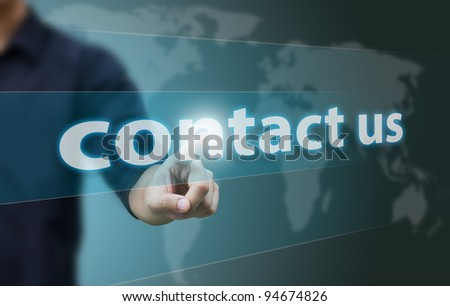 Business hand touch contact us - stock photo