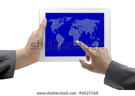 business hand touch on social network on tablet