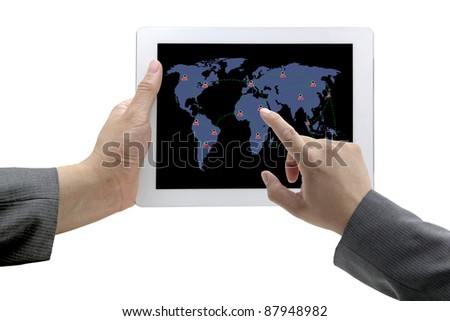 business hand touch on social network on technology tablet