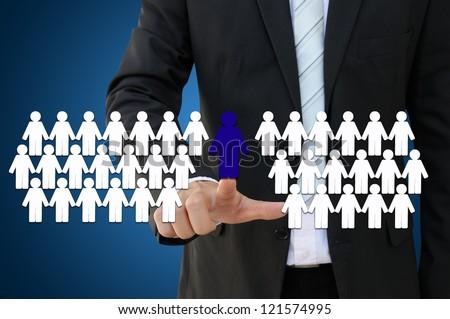 Business hand touch team leader for teamwork concept   - stock photo
