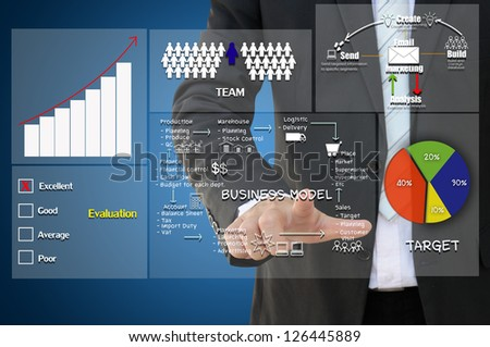Business hand with business concept - stock photo