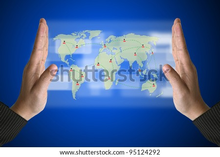 Business Hand with World Social Media Concept on Technology Virtual Screen - stock photo