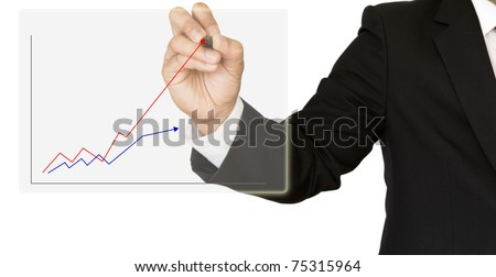 Business hand write graph isolated on white - stock photo