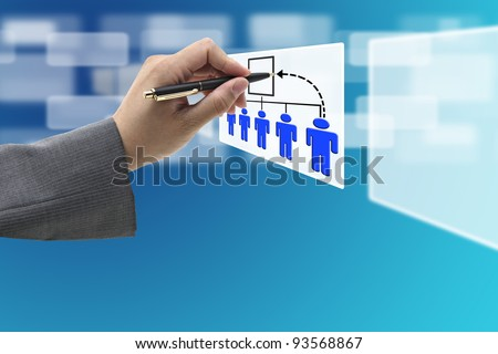 Business Hand Write New CEO Job Promotion on Company Organization - stock photo