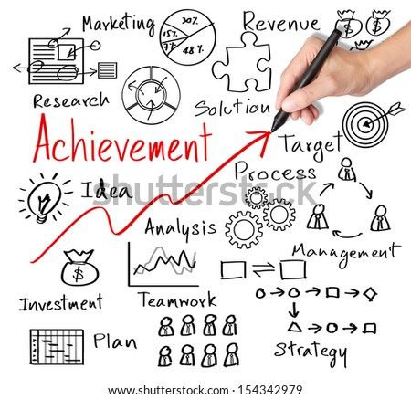 business hand writing business achievement by many  process - stock photo