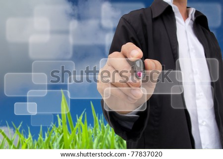 business hand writing button touch screen - stock photo