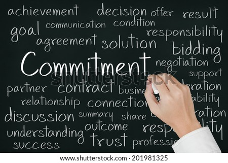 business hand writing commitment concept on chalkboard