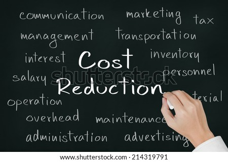 business hand writing cost reduction concept on chalkboard - stock photo