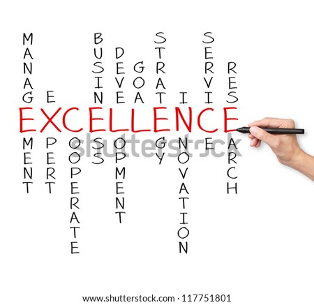 business hand writing excellence business concept by crossword of relate word such as expert, development, strategy, research etc.