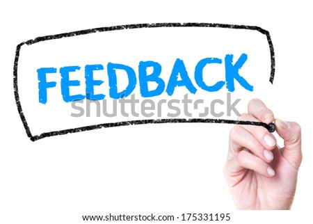 Business hand writing feedback on glass  - stock photo