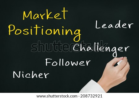 business hand writing four type of market positioning