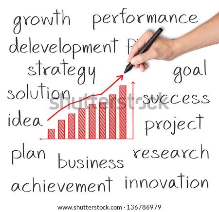 business hand writing growth graph with business related text - stock photo
