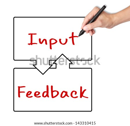 business hand writing input and feedback exchange concept - stock photo