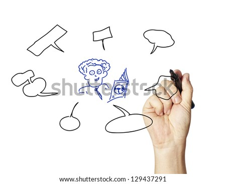 business hand writing input and output with center diagram - stock photo