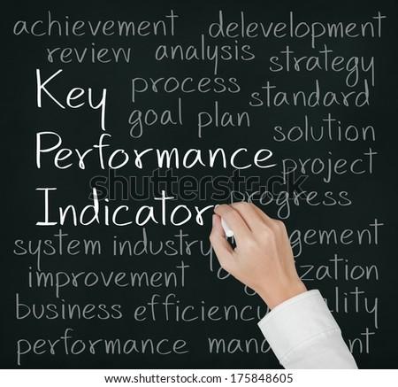 business hand writing key performance indicator (kpi) concept - stock photo