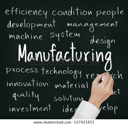 business hand writing manufacturing concept - stock photo