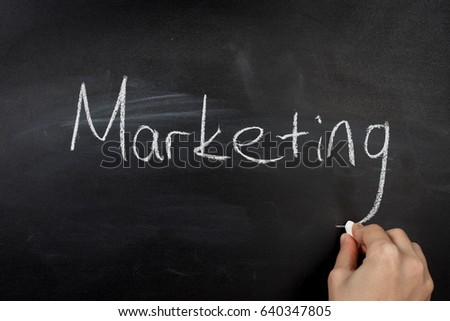 business hand writing marketing concept