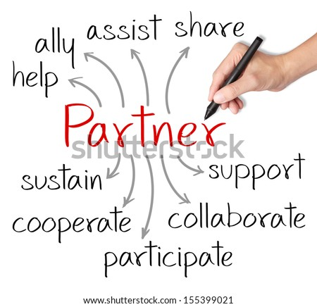 business hand writing partner concept
