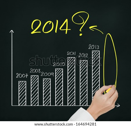 business hand writing question about 2014 on graph - stock photo