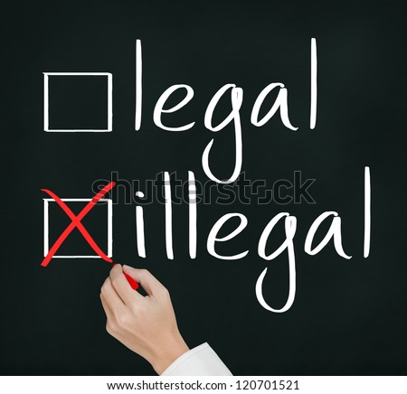 business hand writing red check mark for illegal selection - stock photo