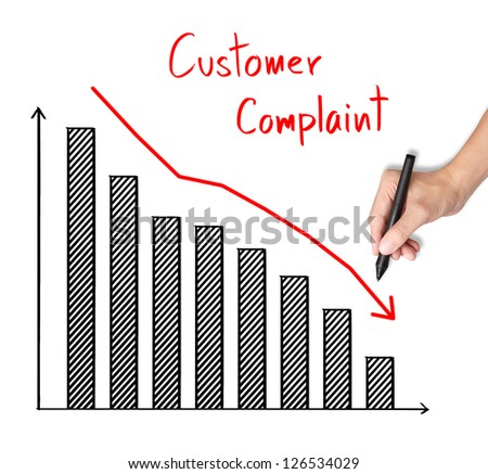 business hand writing reduced customer complaint graph - stock photo
