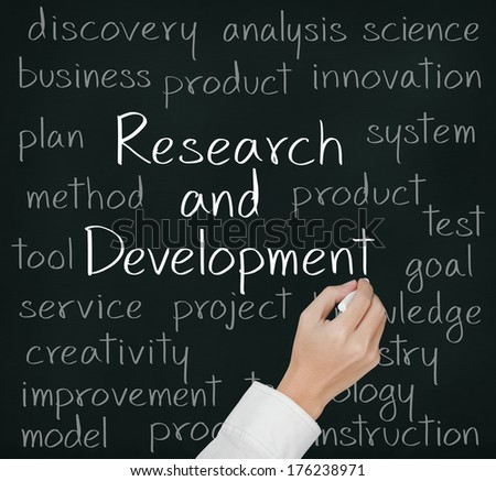 business hand writing research and development concept