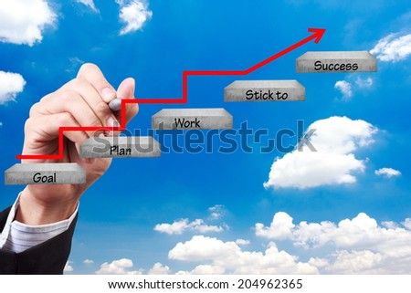 business hand writing rising arrow and word goal plan work stick to success  walking up stepping ladder on blue sky idea concept for success and growth  - stock photo