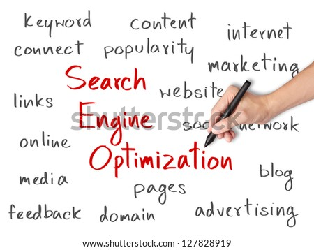 business hand writing search engine optimization  ( SEO ) concept - stock photo