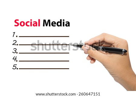 Business hand writing Social Media - stock photo