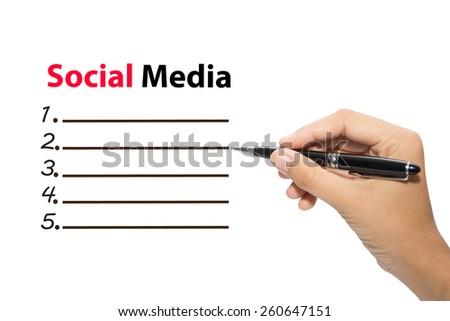 Business hand writing Social Media - stock photo