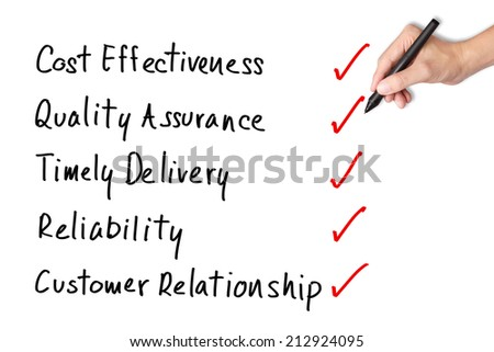 business hand writing solution for excellent product and service industry - stock photo