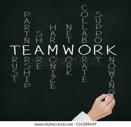 business hand writing teamwork concept crossword - stock photo