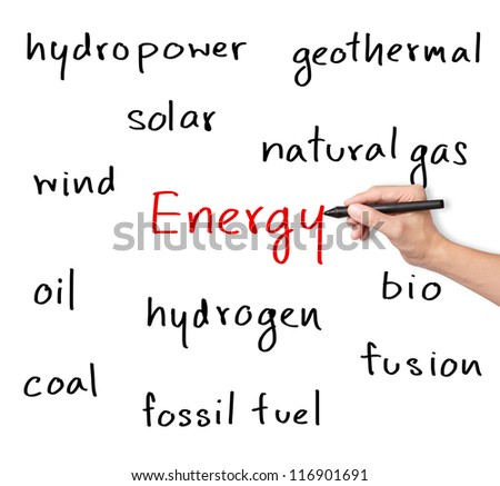 business hand writing various energy sources - stock photo