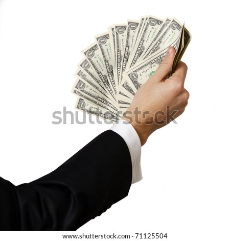 Business hands holding a stack of dollar bills - stock photo