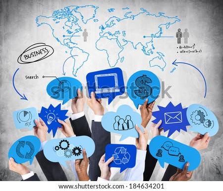 Business Hands Holding Financial Symbols - stock photo